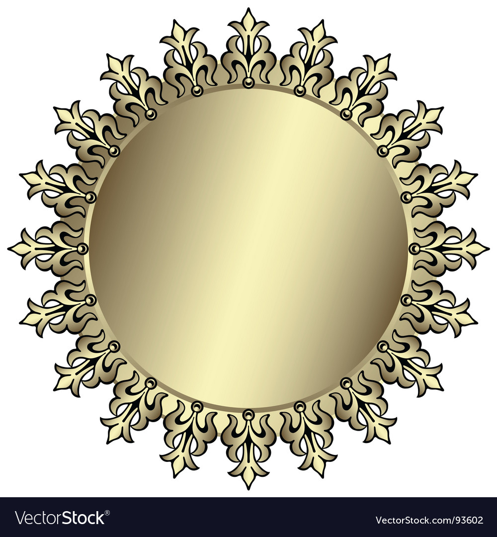 Vintage silvery round frame vector | Price: 1 Credit (USD $1)