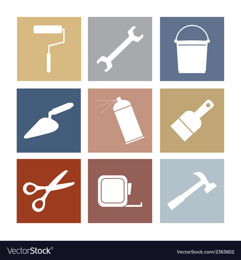 Working tools icons set 9 vector | Price: 1 Credit (USD $1)