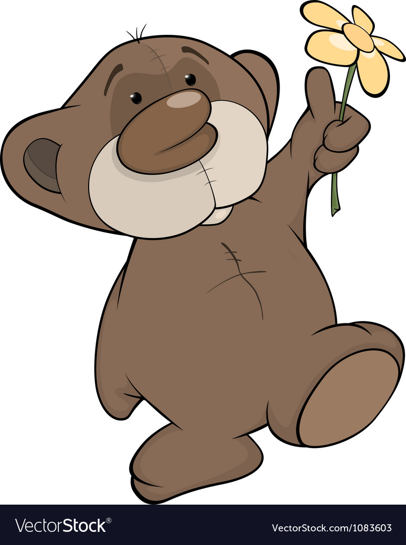 Bear cub and a flower vector | Price: 1 Credit (USD $1)