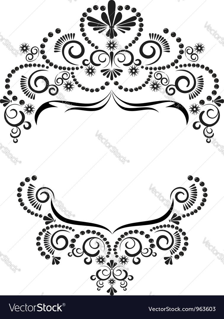 Dark ornamental frame on white background vector | Price: 1 Credit (USD $1)