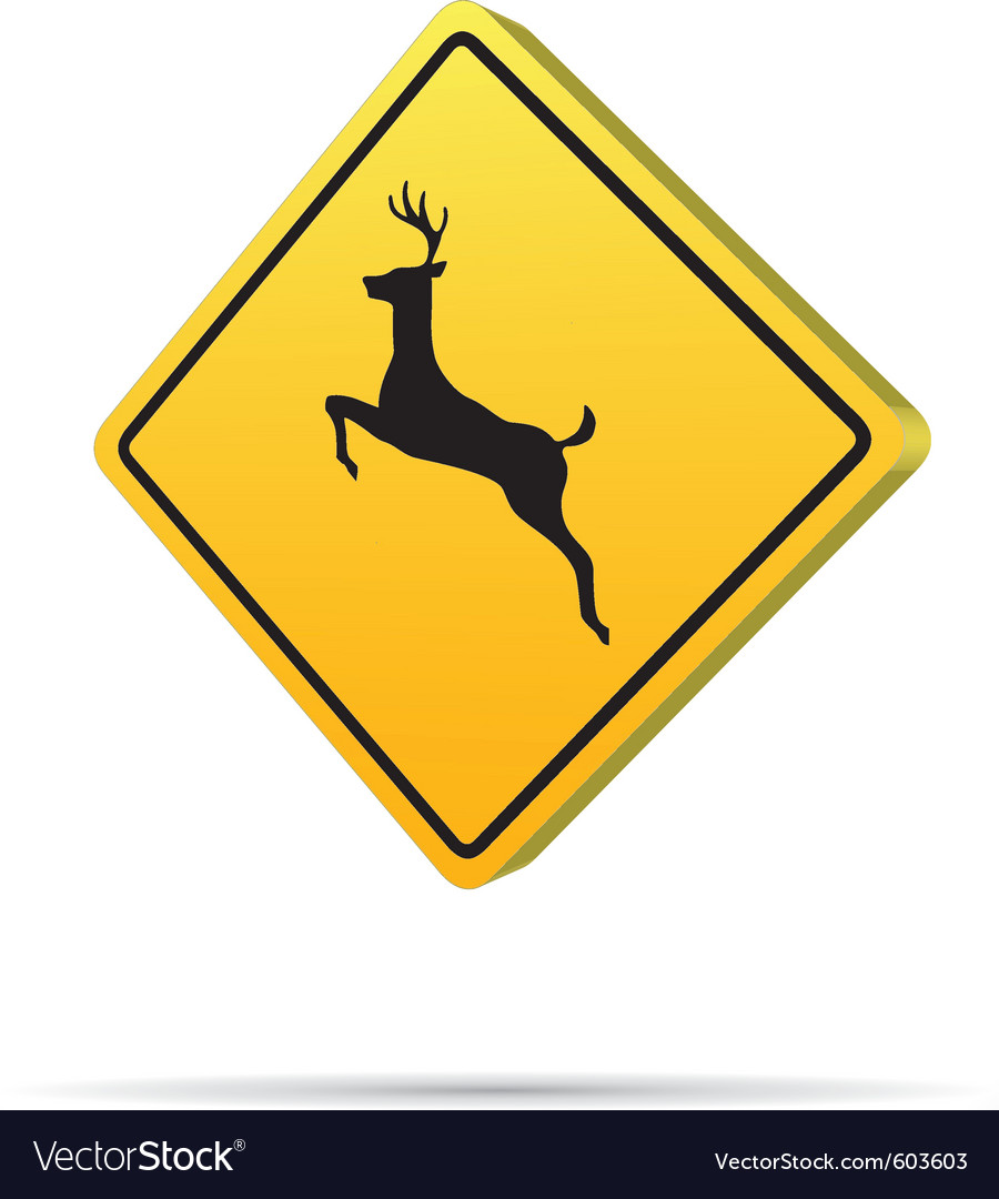Deer crossing - road sign icon vector | Price: 1 Credit (USD $1)