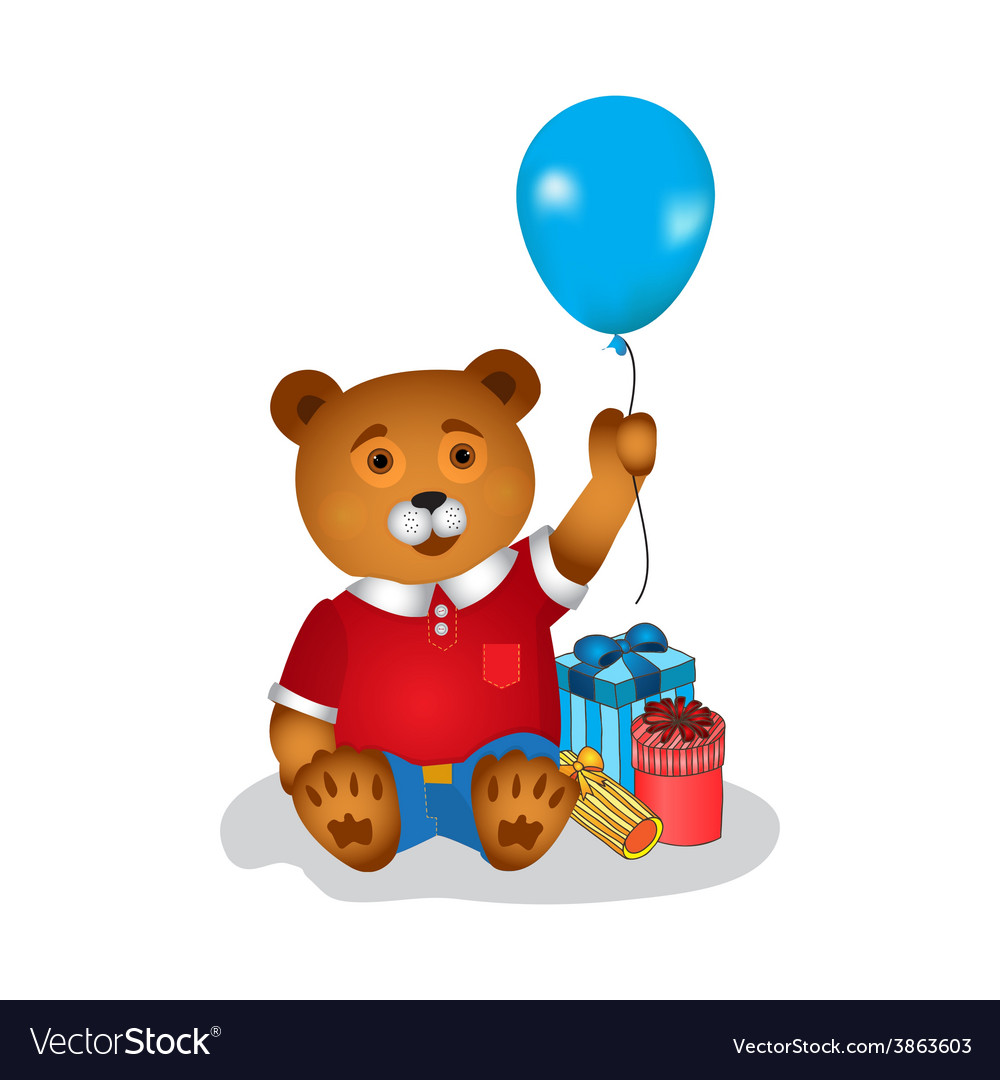 Happy birthday greeting card with bear vector | Price: 1 Credit (USD $1)