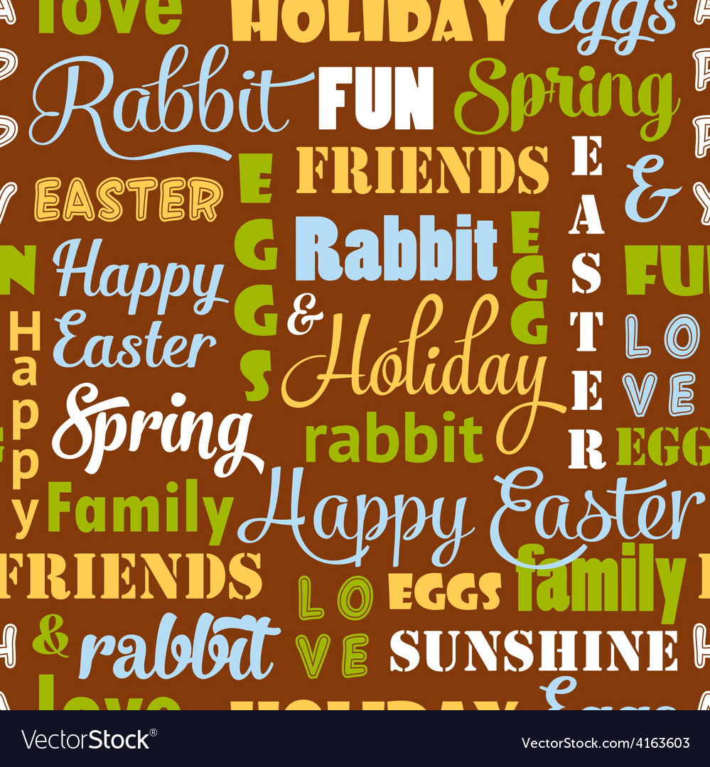 Seamless easter pattern with typography vector | Price: 1 Credit (USD $1)