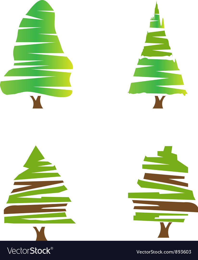 Set of green trees vector | Price: 1 Credit (USD $1)