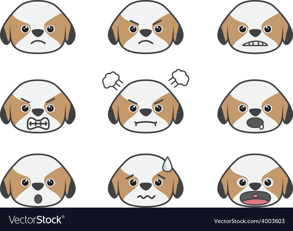 Shih tzu cartoon emotion vector | Price: 1 Credit (USD $1)