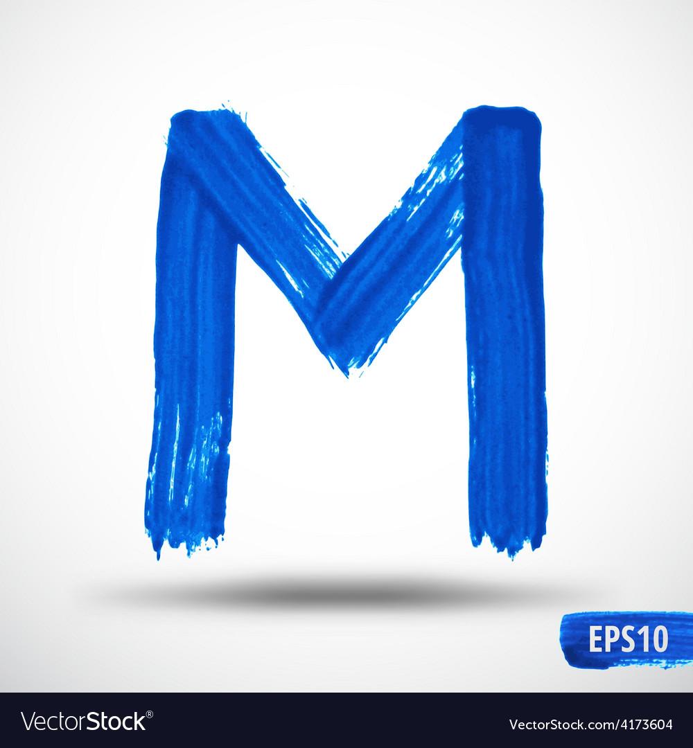 Alphabet letter m watercolor alphabet vector