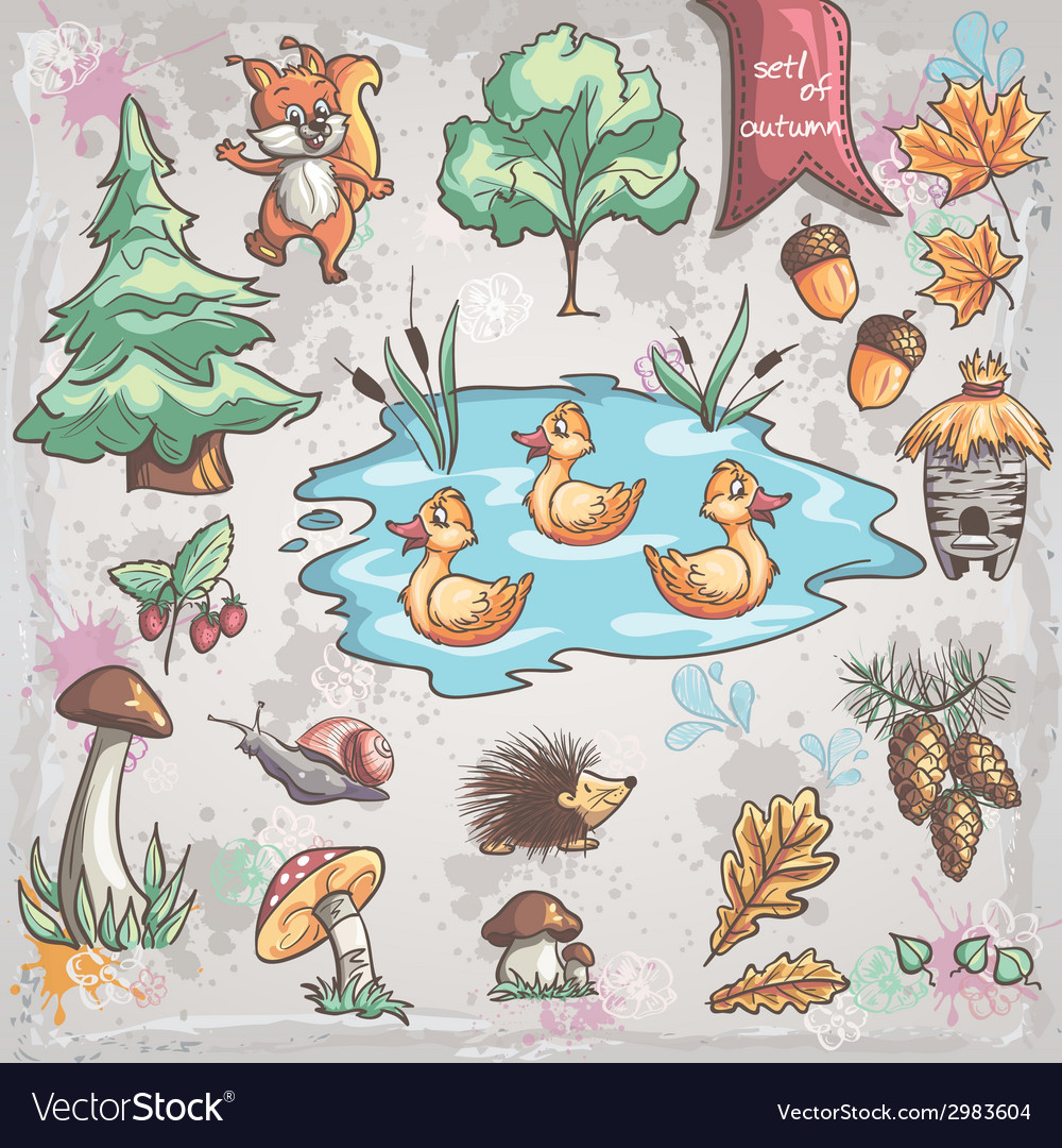 Autumn set of images of trees animals fungi for vector | Price: 3 Credit (USD $3)