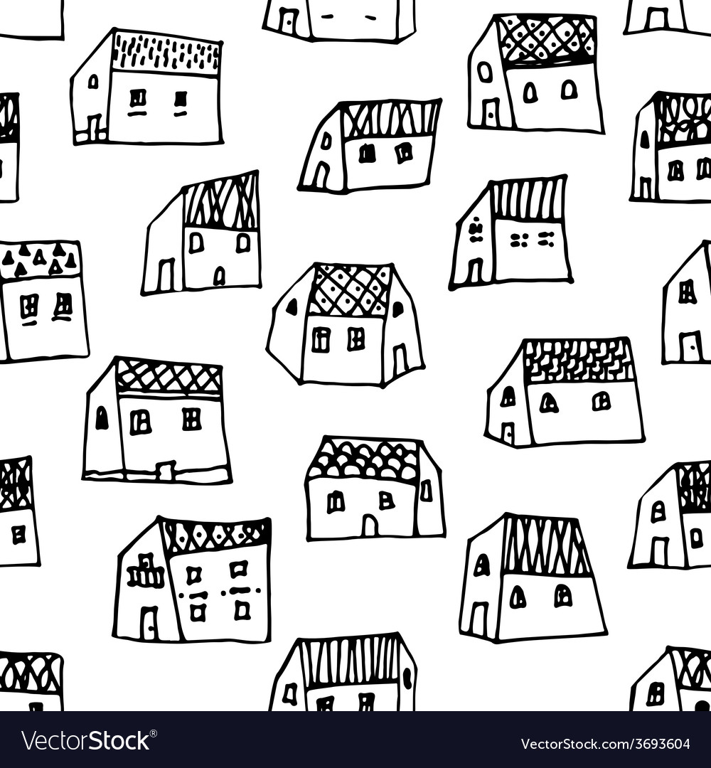 City seamless pattern in black and white is vector   Price: 1 Credit (USD $1)