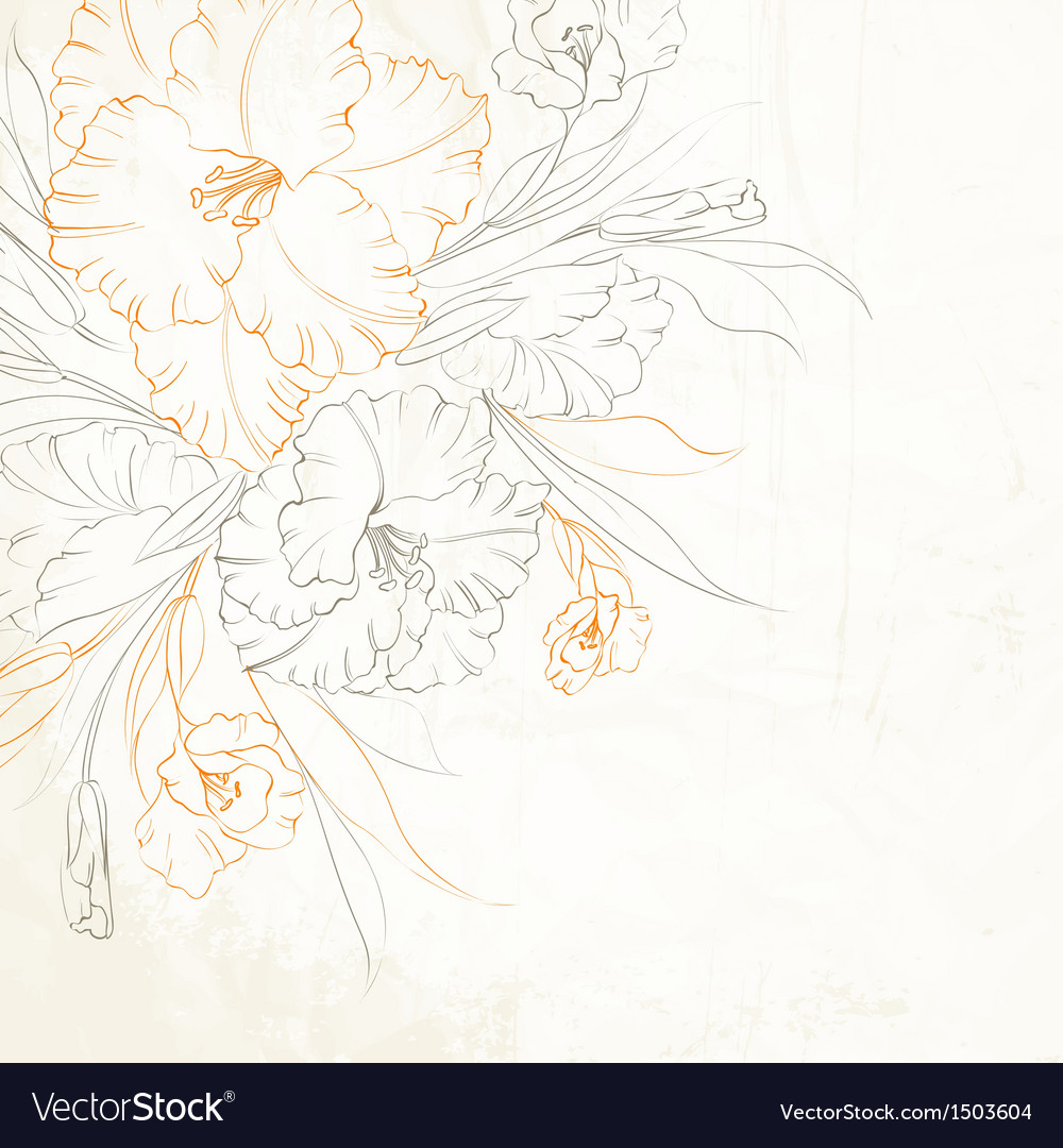 Floral background with hand drawn irises vector | Price: 1 Credit (USD $1)