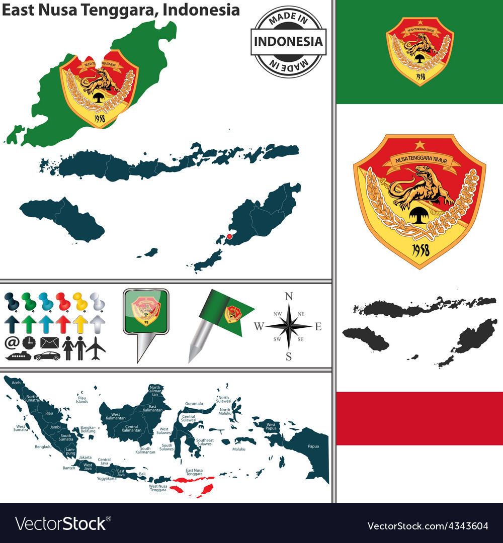 Map of east nusa tenggara vector | Price: 1 Credit (USD $1)