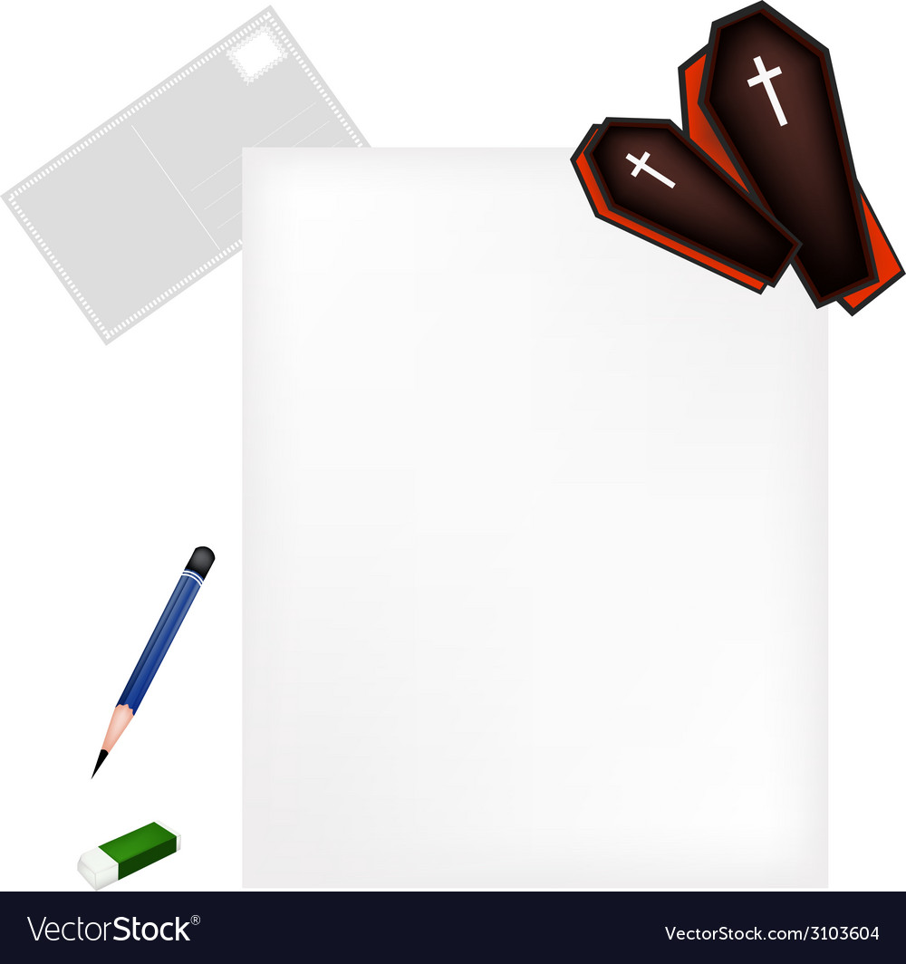 Pencil lying on blank page with black coffins vector | Price: 1 Credit (USD $1)