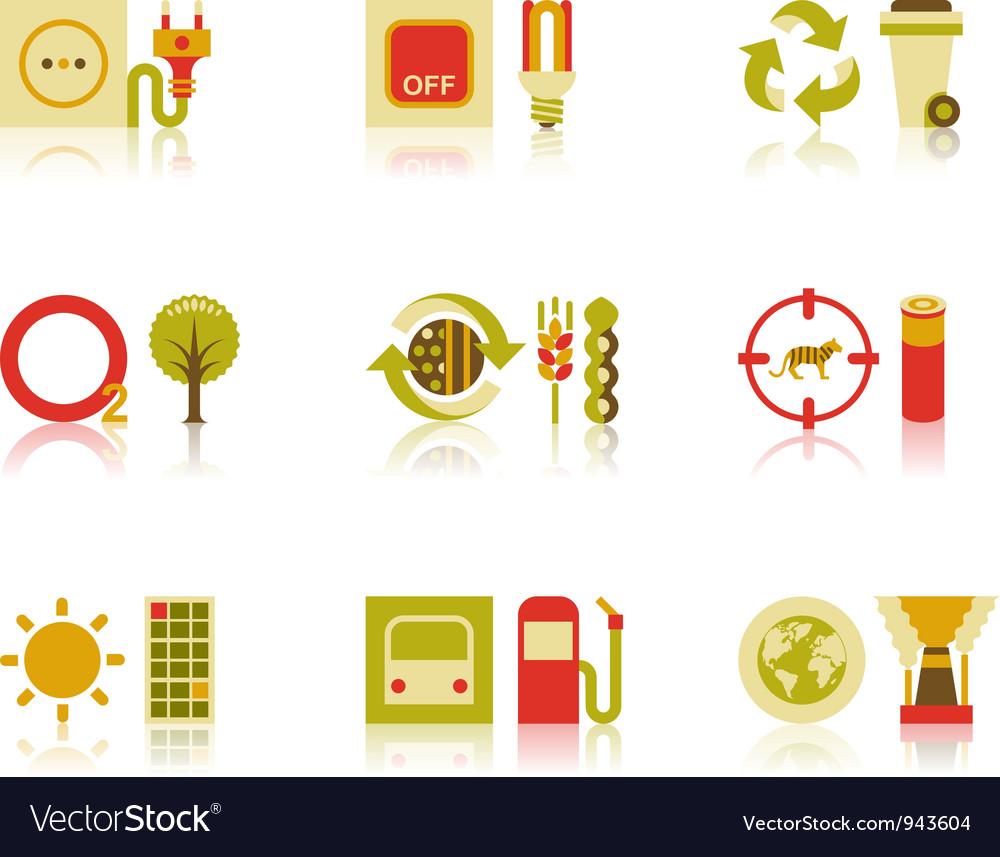 Saving natural resources icon set vector | Price: 1 Credit (USD $1)
