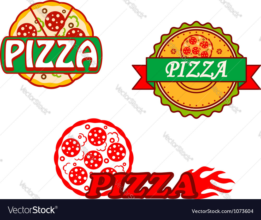 Tasty pizza banners and emblems set vector | Price: 1 Credit (USD $1)