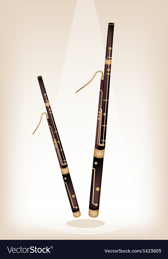A classical bassoon on brown stage background vector   Price: 1 Credit (USD $1)