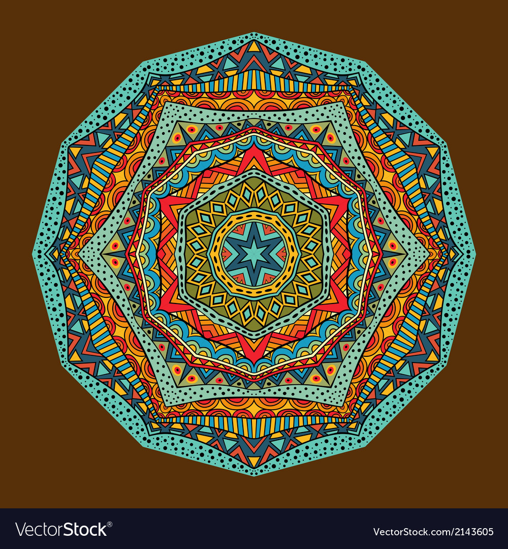 Bright ethnic geometric pattern vector | Price: 1 Credit (USD $1)