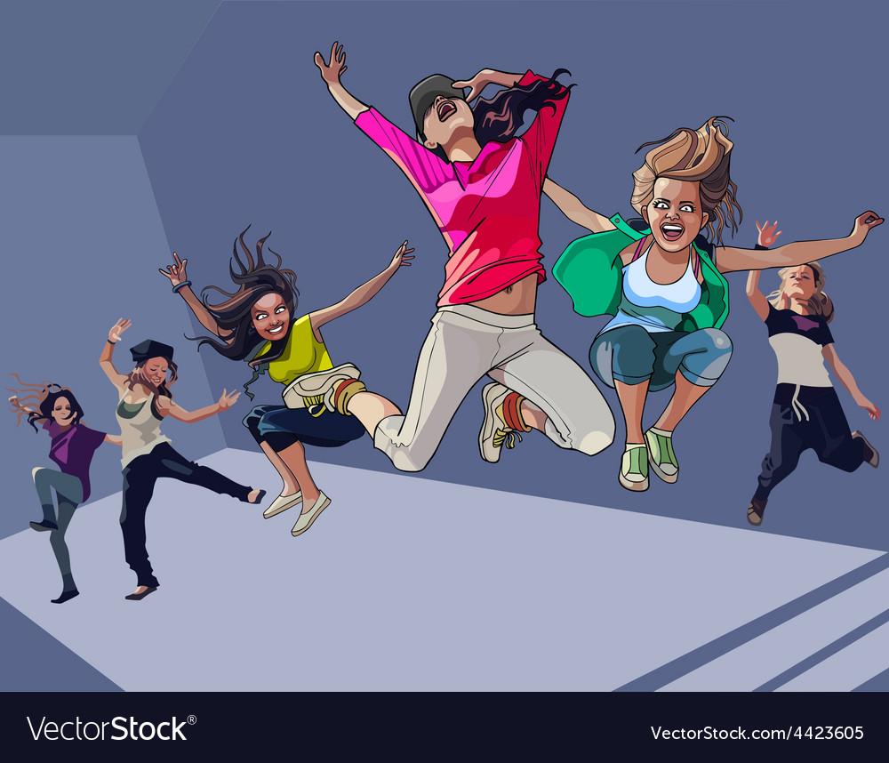 Cartoon happy girls jumping vector | Price: 3 Credit (USD $3)