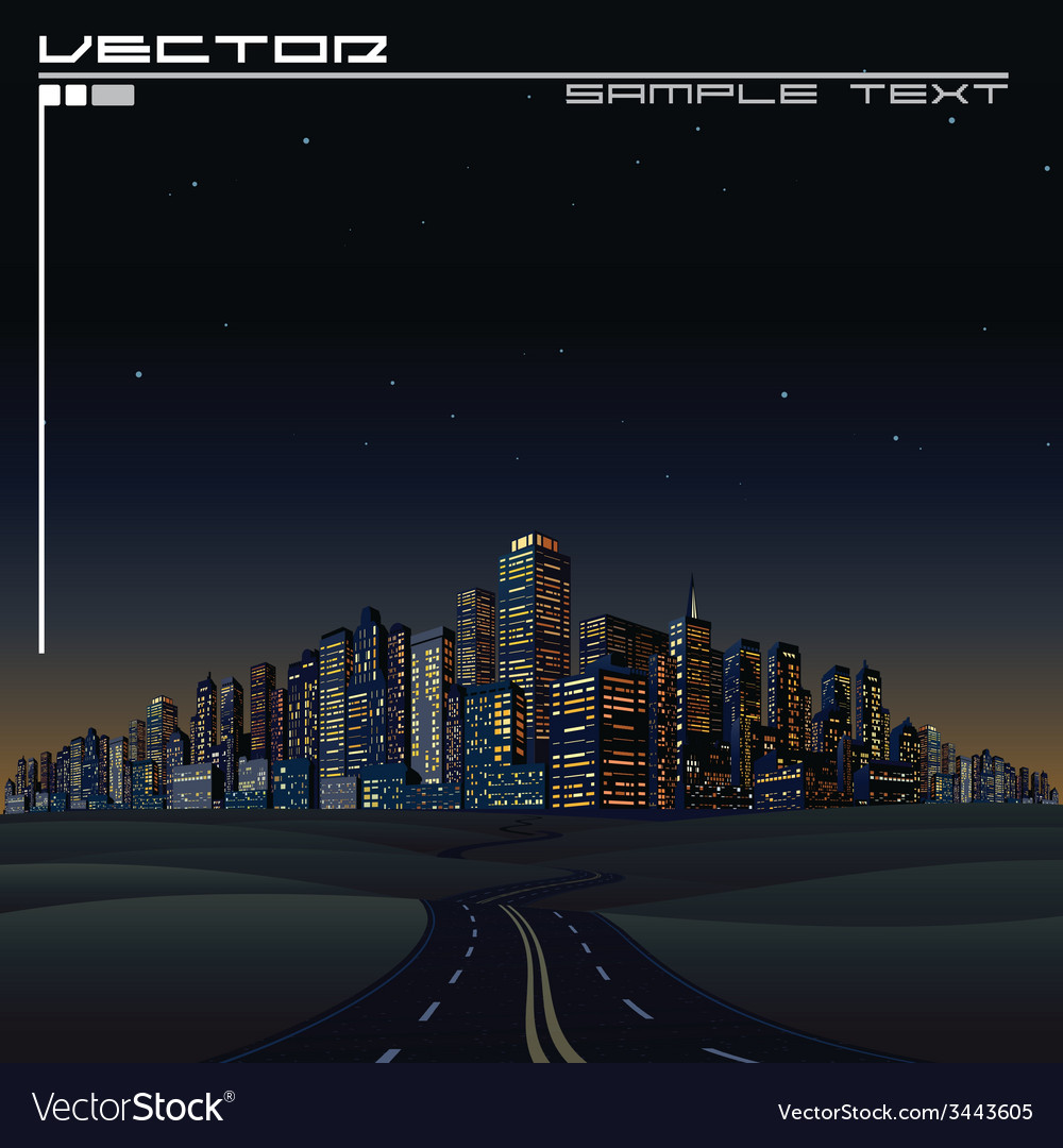 City on the horizon urban road megalopolis vector | Price: 1 Credit (USD $1)