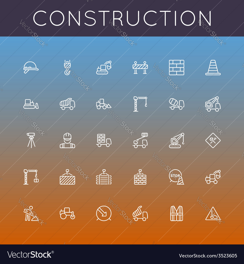Construction line icons vector | Price: 1 Credit (USD $1)