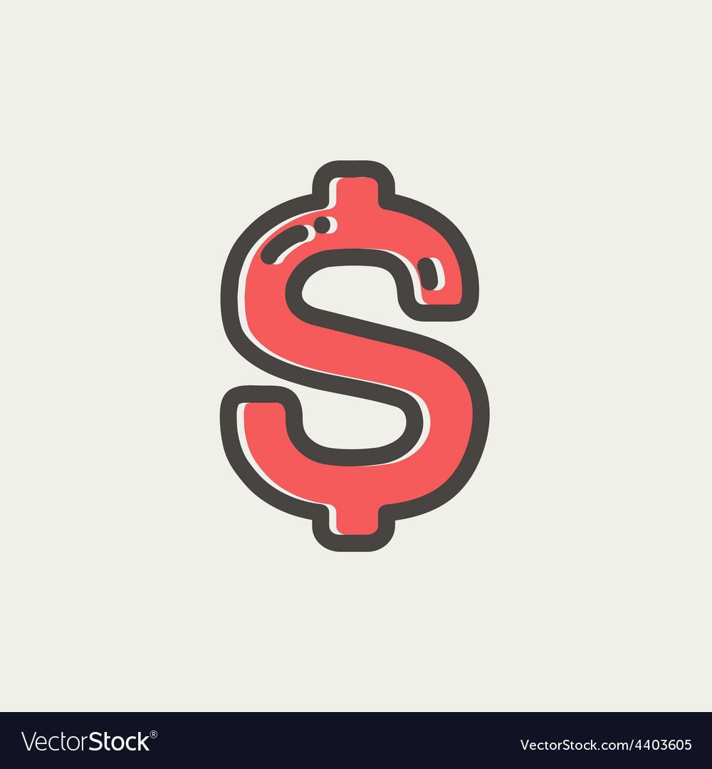 Dollar symbol thin line icon vector | Price: 1 Credit (USD $1)