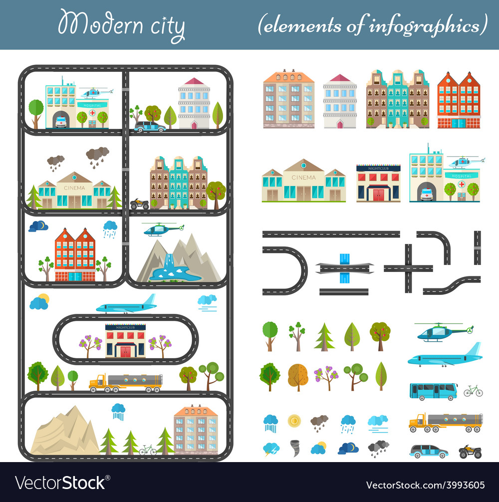 Elements of the modern city vector | Price: 1 Credit (USD $1)