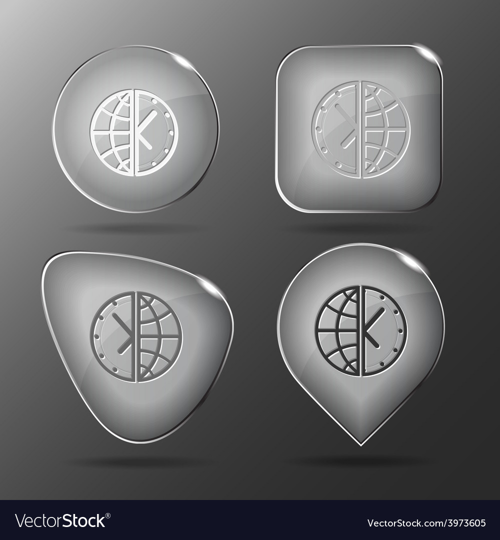 Globe and clock glass buttons vector   Price: 1 Credit (USD $1)