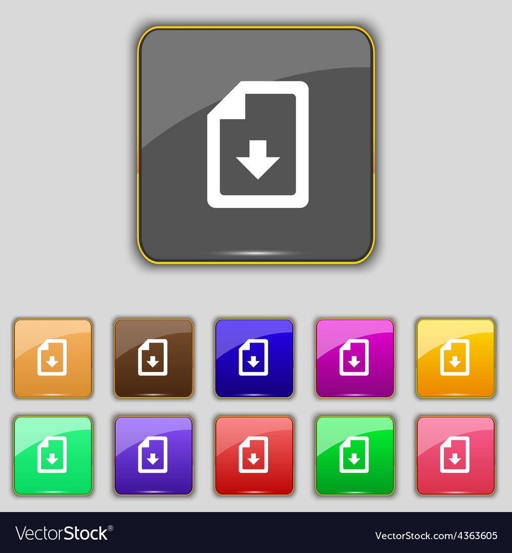 Import download file icon sign set with eleven vector | Price: 1 Credit (USD $1)