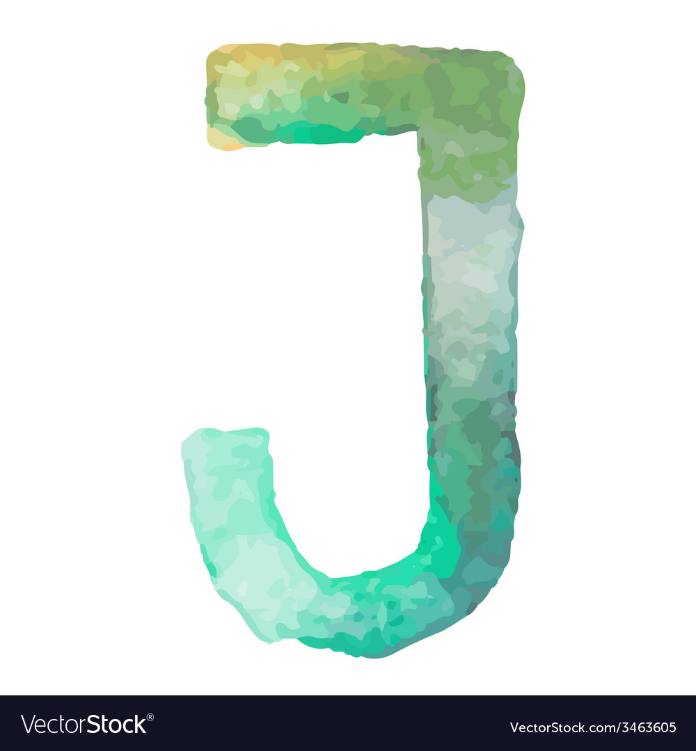 Letter j colorful watercolor aquarelle font type vector | Price: 1 Credit (USD $1)