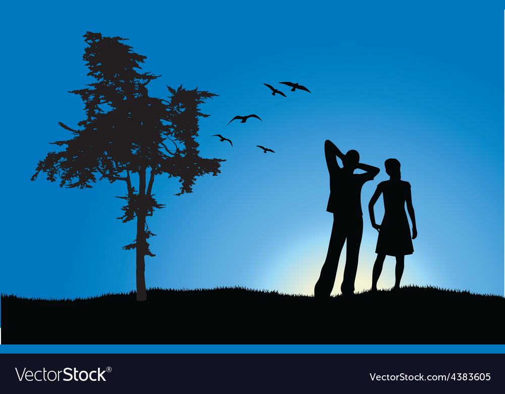Man and girl standing on hill near tree blue vector | Price: 1 Credit (USD $1)