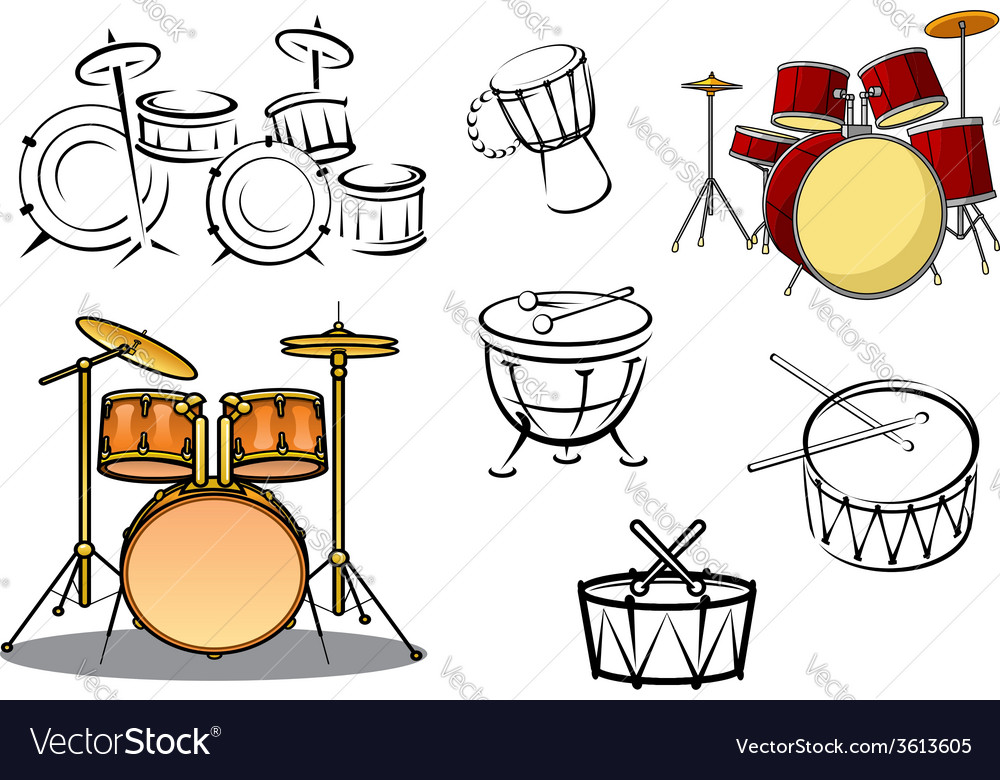 Percussion instruments icons vector | Price: 1 Credit (USD $1)