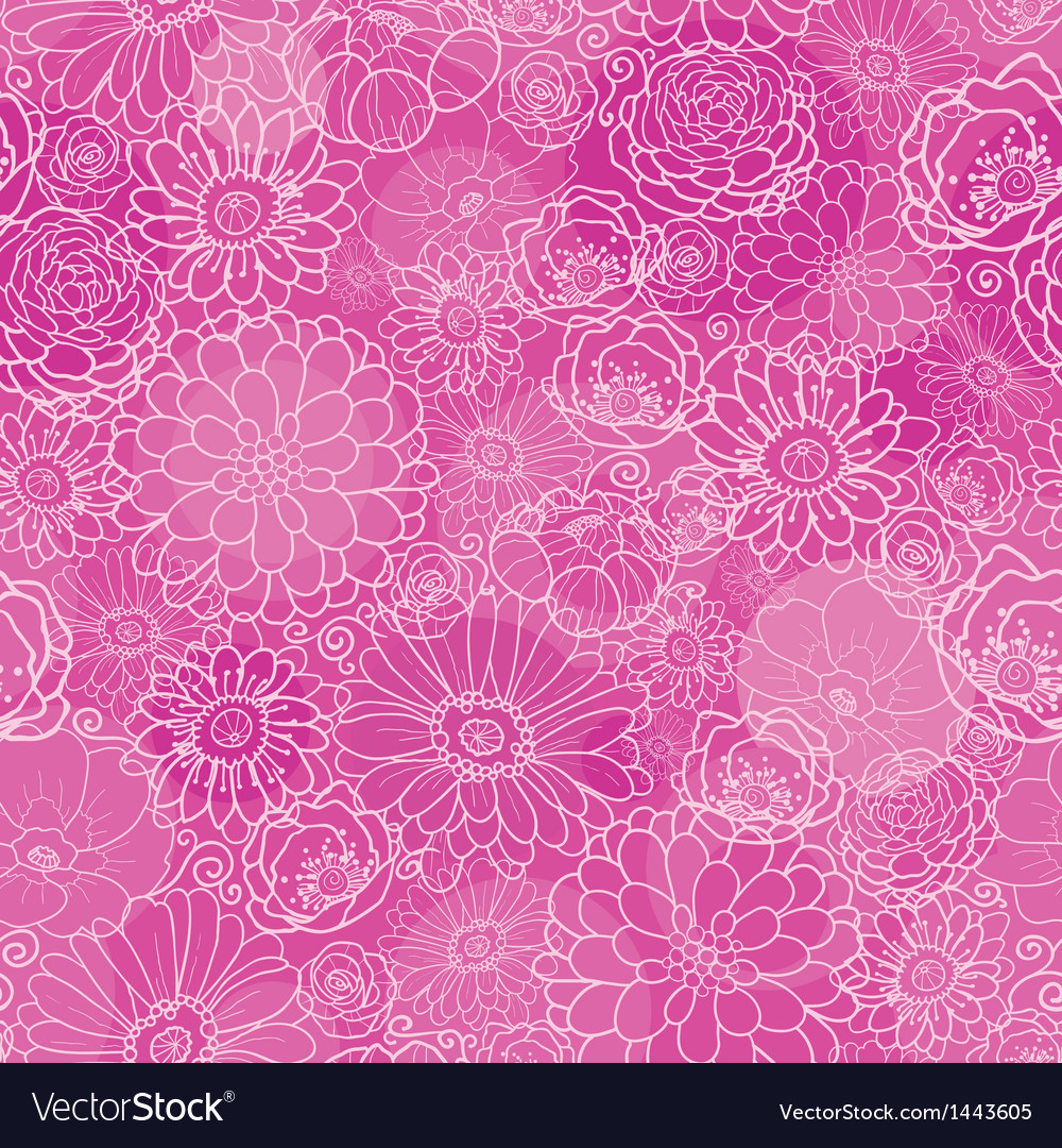 Pink lineart floral texture seamless pattern vector | Price: 1 Credit (USD $1)