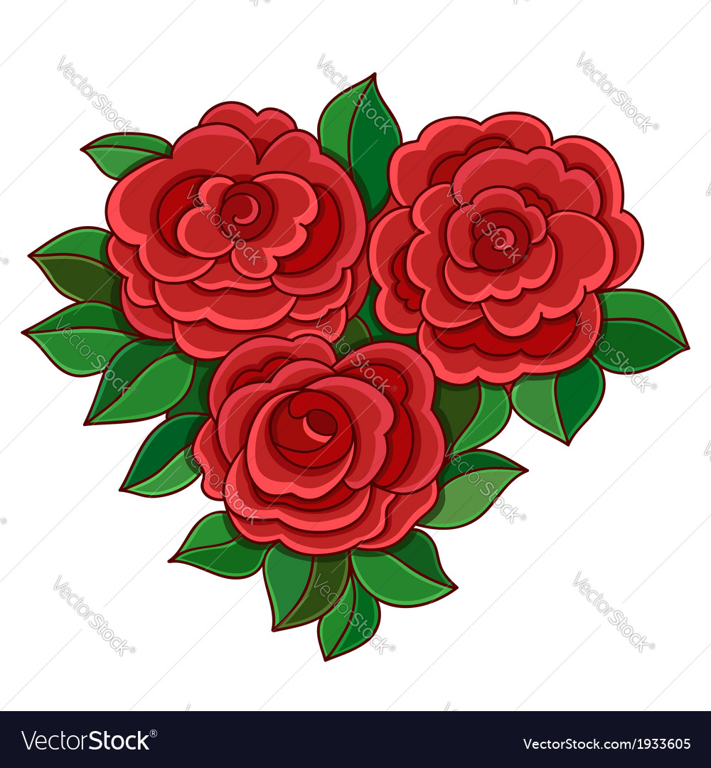 Red roses with leaves isolated on white background vector | Price: 1 Credit (USD $1)