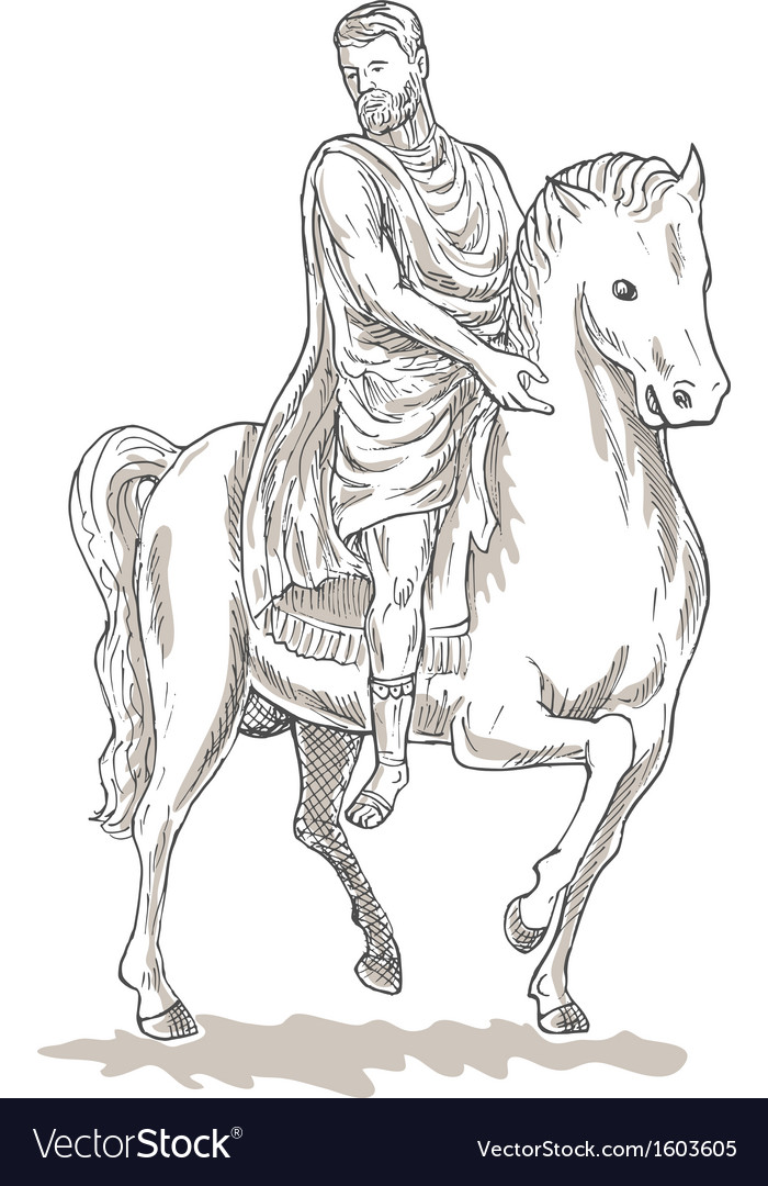 Roman emperor soldier riding horse vector | Price: 1 Credit (USD $1)