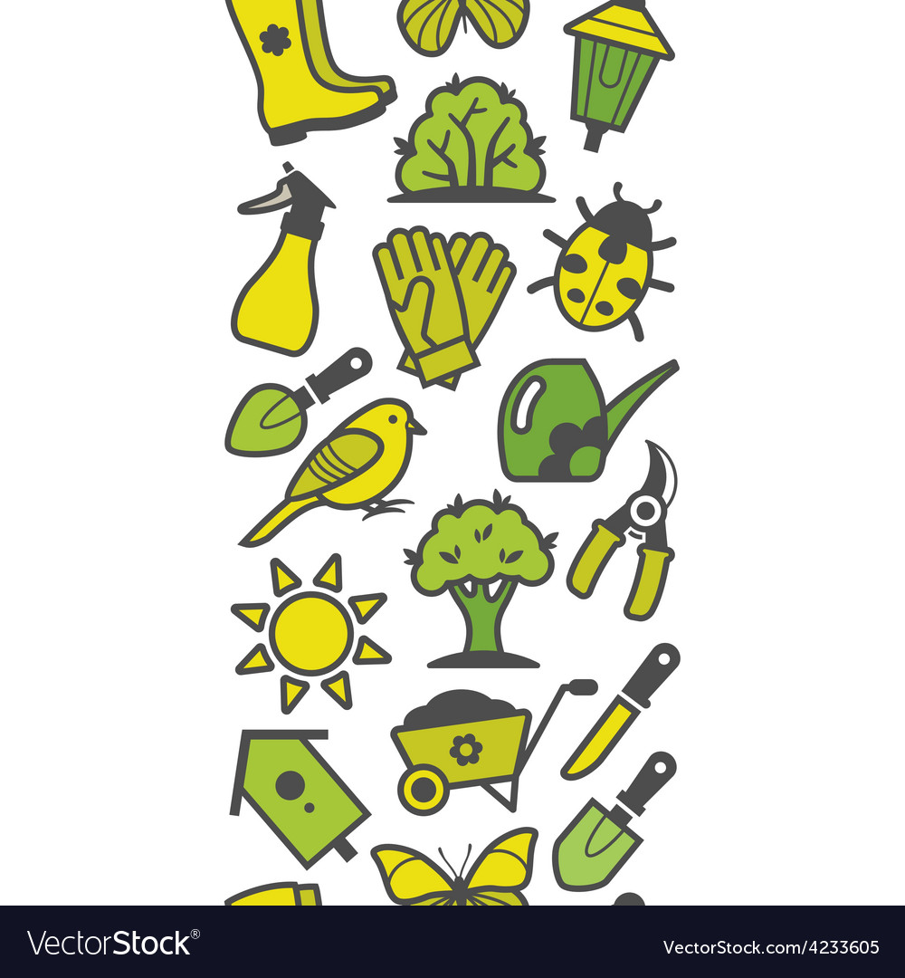 Seamless pattern of green garden tools vector | Price: 1 Credit (USD $1)