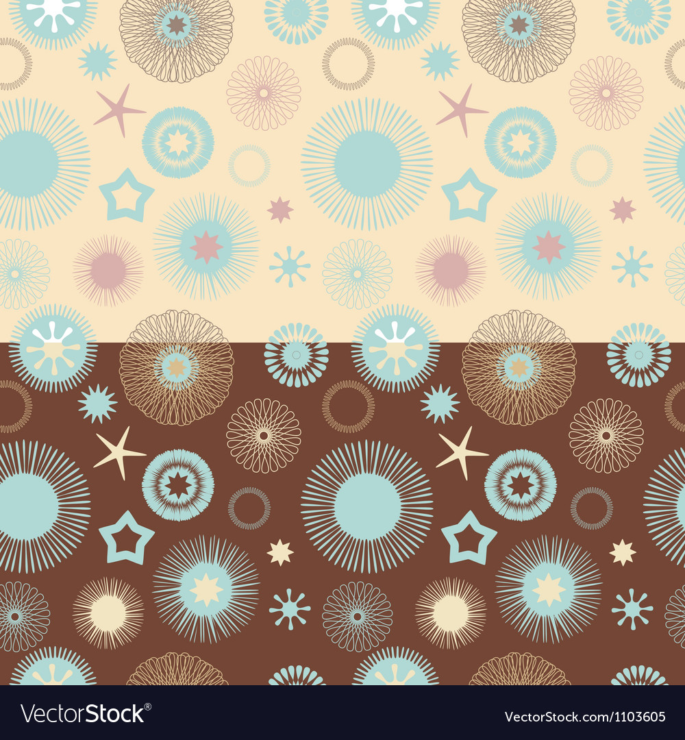 Set of 2 seamless abstract floral patterns vector | Price: 1 Credit (USD $1)