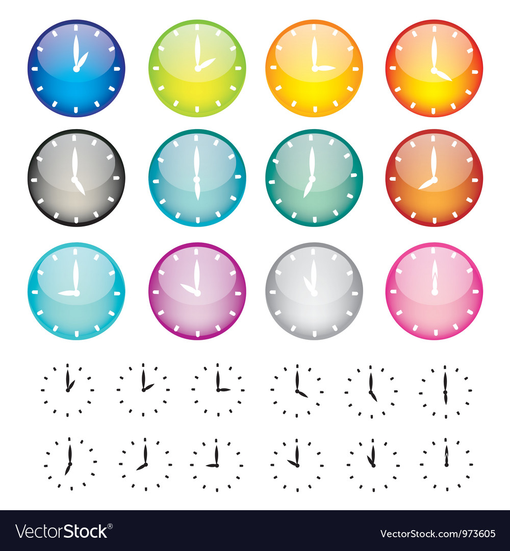 Set of watches sphere icons vector | Price: 1 Credit (USD $1)
