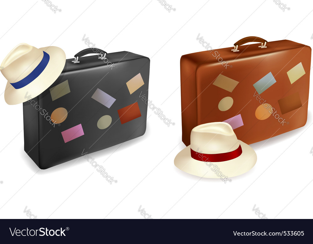 Travel suitcase and a hat vector | Price: 1 Credit (USD $1)