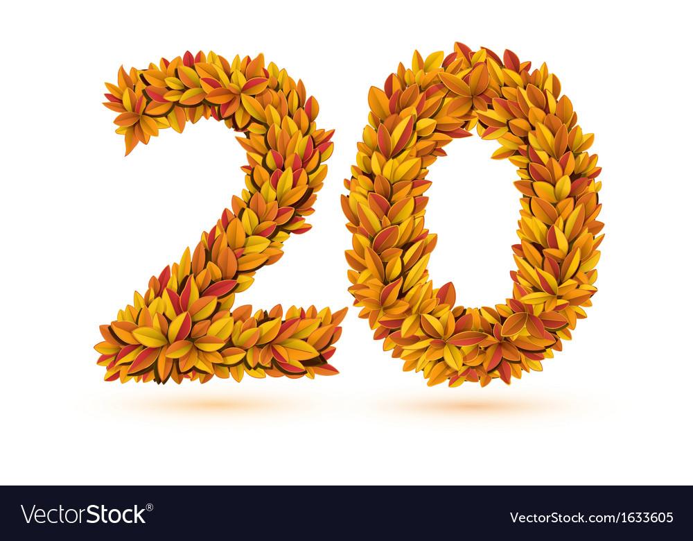Twenty 20 number of autumn fall bright orange vector | Price: 1 Credit (USD $1)