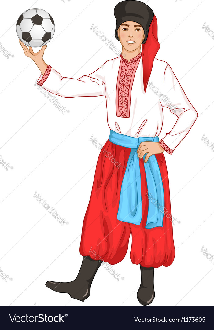 Young man in ukrainian clothes with football vector | Price: 5 Credit (USD $5)