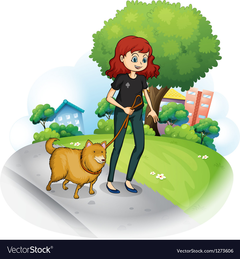 A girl with a dog walking along the street vector | Price: 1 Credit (USD $1)