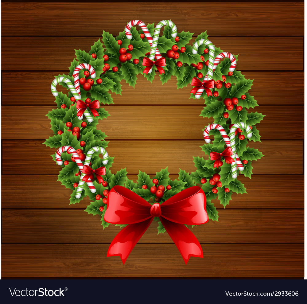 Christmas holly wreath in wood background vector | Price: 1 Credit (USD $1)