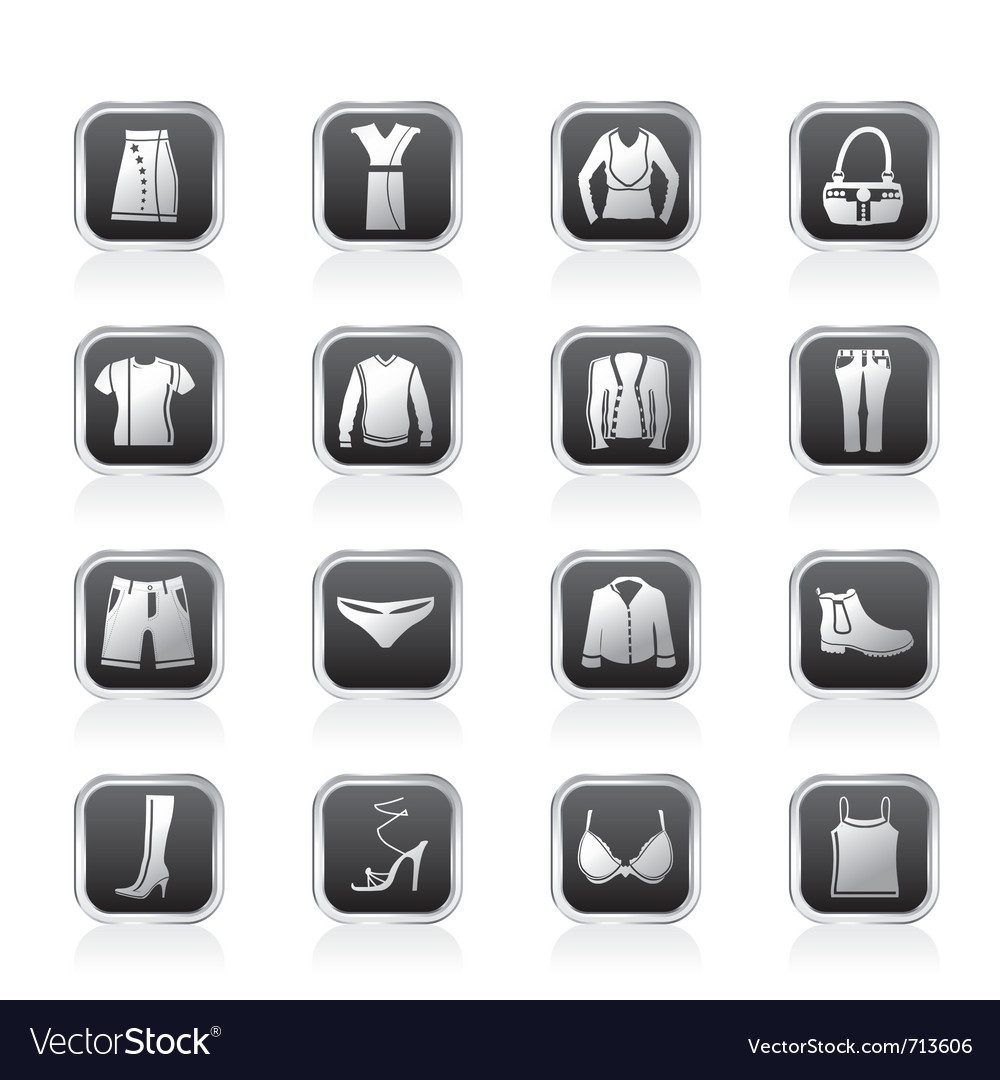 Clothing and dress icons vector | Price: 1 Credit (USD $1)
