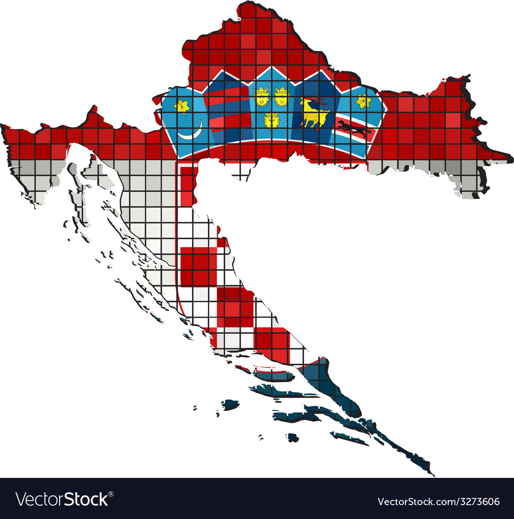 Croatia map with flag inside vector | Price: 1 Credit (USD $1)
