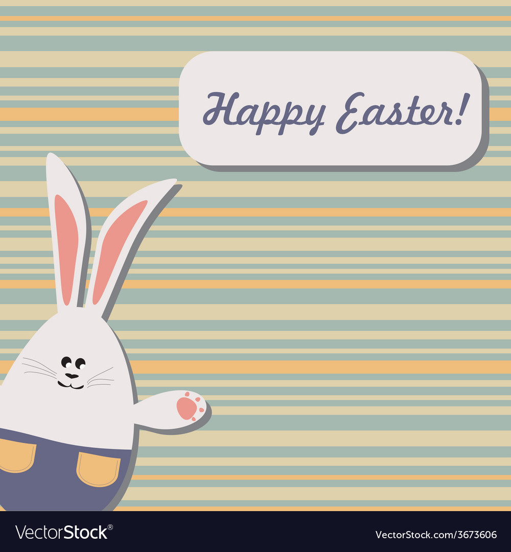 Easter bunny on stripped background vector | Price: 1 Credit (USD $1)