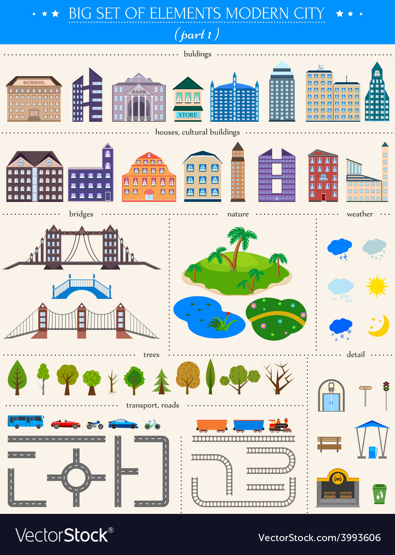 Elements of the modern city on white background vector | Price: 1 Credit (USD $1)