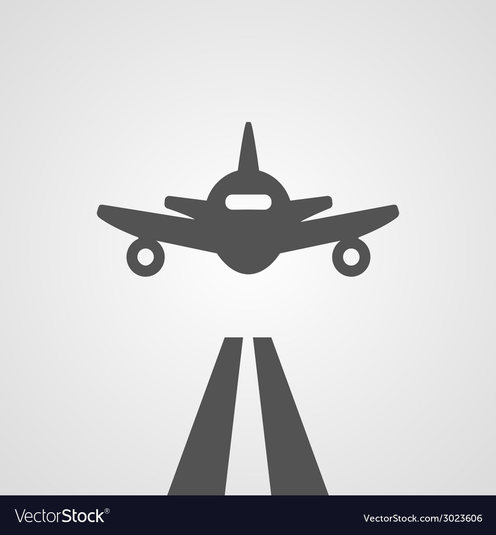 Flat gray landing plane vector | Price: 1 Credit (USD $1)