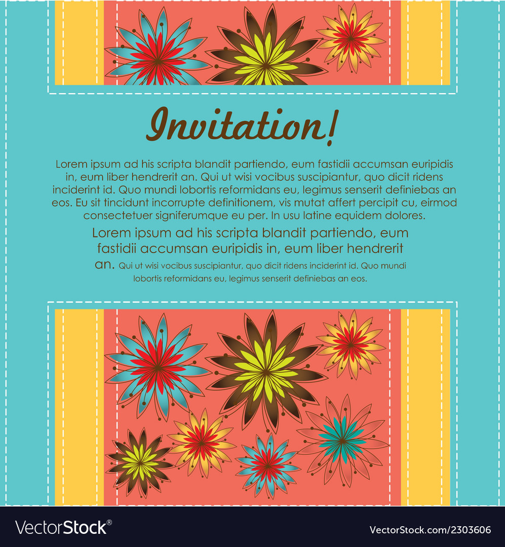 Invitation card with colorful flowers vector   Price: 1 Credit (USD $1)