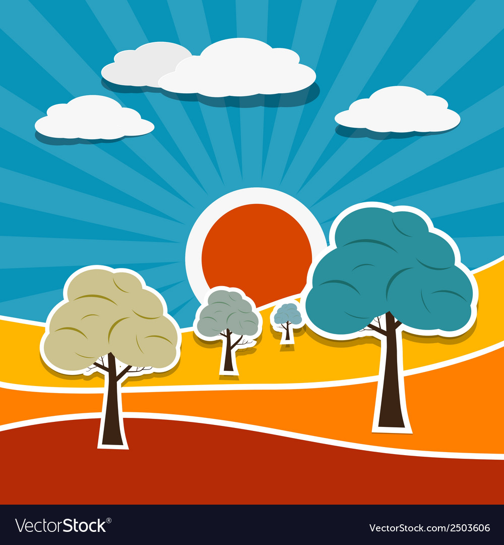 Landscape with paper trees vector | Price: 1 Credit (USD $1)