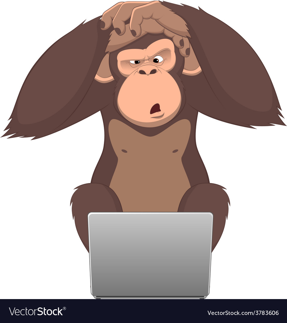 Monkey and computer vector | Price: 1 Credit (USD $1)