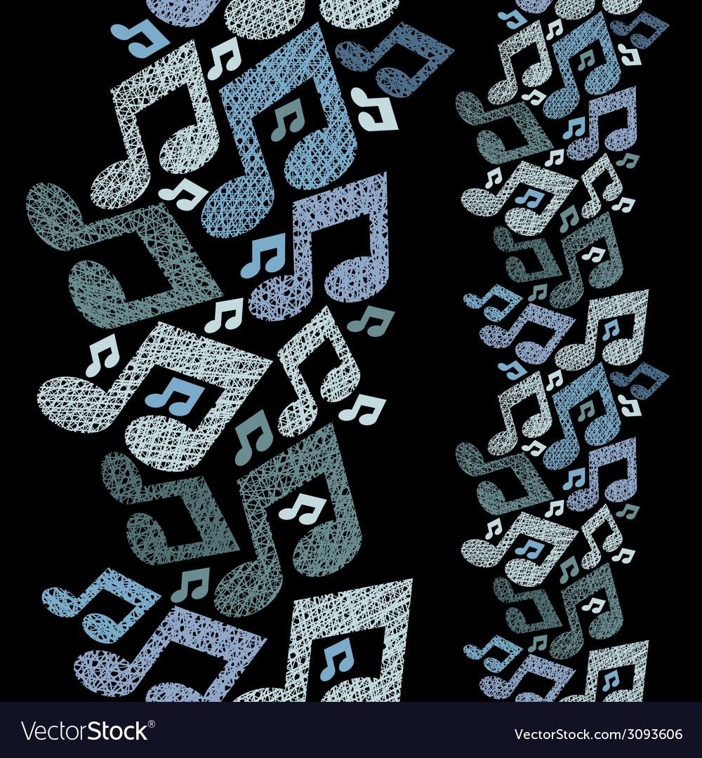 Music theme seamless pattern with notes vertical vector | Price: 1 Credit (USD $1)