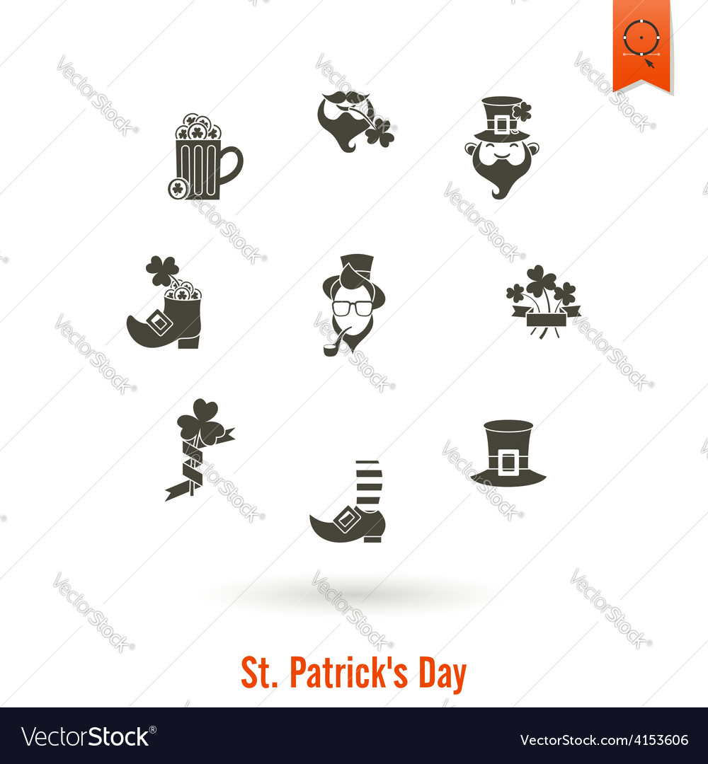 Saint patricks day isolated icon set vector | Price: 1 Credit (USD $1)